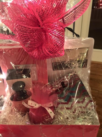 Basket with Cologne and Skin Care Samples